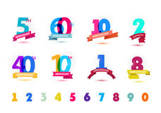 Vector set of anniversary numbers design. 5, 60, 10, 2, 40, 1, 8 icons, compositions with ribbons. Vector set of anniversary numbers design. Colorful Stock Photo