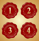 Vector Set of Anniversary Red Wax Seal First, Second, Third, Fourth. Celebrating Royalty Free Stock Photo