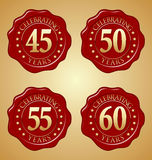 Vector Set of Anniversary Red Wax Seal 45th, 50th, 55th, 60th. Celebrating Stock Photos