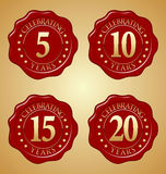 Vector Set of Anniversary Red Wax Seal 5th, 10th, 15th, 20th. Years Celebrating royalty free illustration