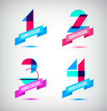 Vector set of anniversary retro numbers design. n Royalty Free Stock Image