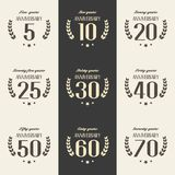 Vector set of anniversary symbols. 5th, 10th, 20th, 25th, 30th, 40th, 50th, 60th, 70th anniversary logo`s collection. Vector set of anniversary symbols Royalty Free Stock Photos