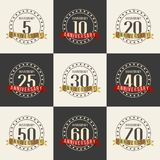 Vector set of anniversary symbols. 5th, 10th, 20th, 25th, 30th, 40th, 50th, 60th, 70th anniversary logo`s collection. Vector set of anniversary symbols Royalty Free Stock Images