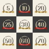 Vector set of anniversary symbols. 5th, 10th, 20th, 25th, 30th, 40th, 50th, 60th, 70th anniversary logo`s collection. Stock Photo