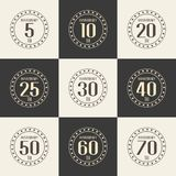 Vector set of anniversary symbols. 5th, 10th, 20th, 25th, 30th, 40th, 50th, 60th, 70th anniversary logo`s collection. Royalty Free Stock Photo