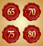 Vector set of Anniversary Wax Seal 65th, 70th, 75th, 80th Royalty Free Stock Photography