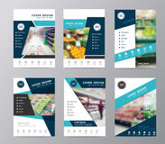 Vector set annual report brochure supermarket in blurry background Royalty Free Stock Photo