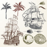 Vector set of antique ships and palms in vintage style.  Stock Photography