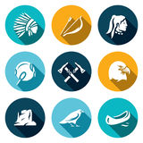 Vector Set of Apaches Icons. Injun, Bow and arrow, Tambourine, Tomahawk, Laurel, Canyon, Raven, Canoe. Stock Photography