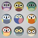 Vector set of app icons  cute owls. Vector EPS10 Royalty Free Stock Images