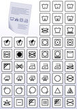 Vector set of apparel care instruction symbols. Stock Images