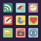 Vector set of apps icons in bright colors Royalty Free Stock Photo