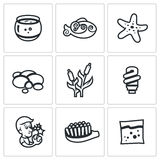 Vector Set of Aquarium Icons. Capacity, fish, starfish, pebble, reed, light, desire, brush, feed. Stock Photography