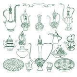 Vector set of arabic crockery. Oriental pottery dishes illustration. Royalty Free Stock Photography