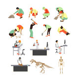 Vector set of archaeologists, researchers at work, tools and equipment Royalty Free Stock Images
