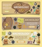 Archaeology vector banners web templates. Vector set of archaeology banners web templates with archaeological site, ancient artifacts, archaeological tools, copy stock illustration
