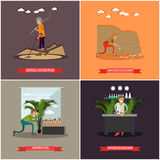 Vector set of archaeology concept posters in flat style Royalty Free Stock Photo