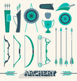 Vector Set: Archery Icons and Objects Royalty Free Stock Images
