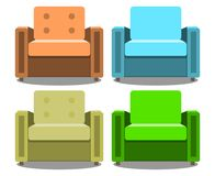Vector set of armchairs front view isolated on white background. Realistic Modern armchair. EPS10 Stock Photography