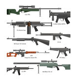 Vector set of army combat weapons. Icons isolated on white background. Gun, rifles, machine gun Stock Photos