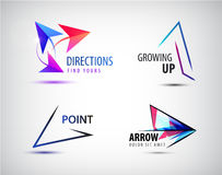 Vector set of arrow logos, pointer icons, abstract design template Royalty Free Stock Photos