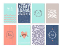 Vector set of art cards. Use for wedding Royalty Free Stock Photo