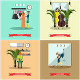 Vector set of art and crafts professionals flat posters Stock Images