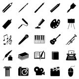 Vector Set of Art Icons. Vector Set of 25 Black Art Icons Royalty Free Stock Photo