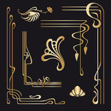 Vector set of art nouveau decorative elements. Royalty Free Stock Image
