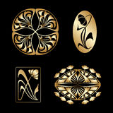 Vector set of art nouveau decorative elements. Stock Photo