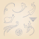 Vector set of art nouveau decorative elements. Stock Photography