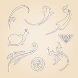 Vector set of art nouveau decorative elements. Stock Photography