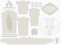 Vector set of Art Nouveau. Vector set for design. Labels, frames, vignettes, sockets and ornaments in the Art Nouveau style Stock Images