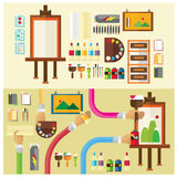 Vector set Art studio color paint flat illustration icon arm and han Stock Photo