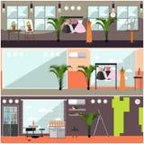 Vector set of art studio interior posters in flat style. Vector set of art studio interior posters, banners. Art studio, ballroom, workshop, shoe repair shop Stock Images