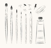 Vector set of art tools Stock Photography