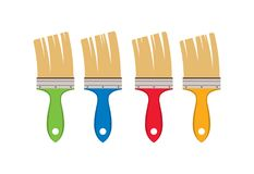 Vector set of artist colorful paint brushes. Isolated on white background. collection of paintbrush tools. paint brush flat icons royalty free illustration