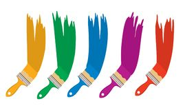 Vector set of artist colorful paint brushes. Isolated on white background. collection of paintbrush tools. paint brush flat icons stock illustration