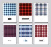 Vector set of artistic abstract cards with tartan colorful patterns. Stock Photography