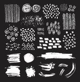 Vector set of artistic textures and hand drawn brush strokes Royalty Free Stock Photos
