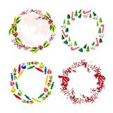 Vector set of artistic watercolor hand drawn Merry Christmas decoration wreath isolated on white background. Congratulation design element, card, invitation Royalty Free Stock Image