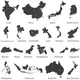 Vector set of asian maps with region borders, and also maps of Austealia and New Zealand. Set of asian maps with region borders Stock Images