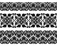 Vector set of Asian seamless tape, ribbon patterns in the form of cotton flower in Uzbek national style. Mockup for design. Royalty Free Stock Images