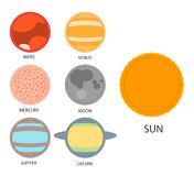 Vector set of astrological planets. Modern Flat Stock Photo