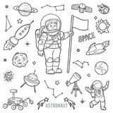 Vector set with astronaut and space objects Royalty Free Stock Photography