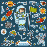 Vector set with astronaut and space objects. Cartoon items Royalty Free Stock Image