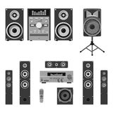 Vector set of audio and music systems icons. Loudspeakers  on white background. Stock Photography