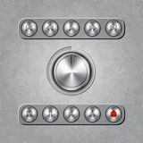 Vector set of audio system knobs on textured Royalty Free Stock Photos