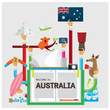 Vector set Australia Bear Cola boomerang server board flat illustrat Stock Photo
