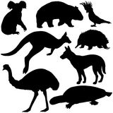 Vector set of australian animals silhouettes Stock Photography